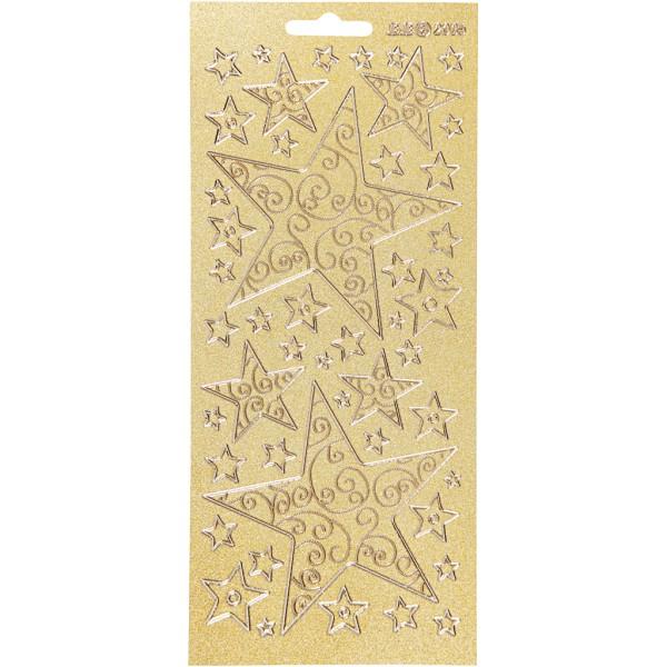 Stickers Peel Off Etoiles - Doré - Planche de 10x23 cm - Photo n°1