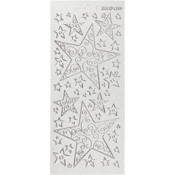 Stickers Peel Off Etoiles - Argenté - Planche de 10x23 cm - Photo n°1