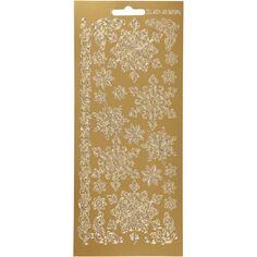 Stickers Peel Off Flocons - Doré - Planche de 10x23 cm