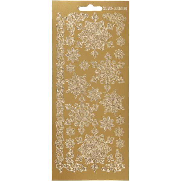 Stickers Peel Off Flocons - Doré - Planche de 10x23 cm - Photo n°1