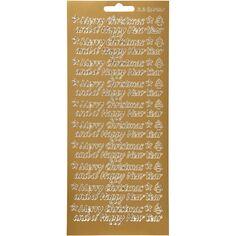 Stickers Peel Off Merry Christmas - Doré - Planche de 10x23 cm
