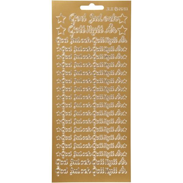 Stickers Peel Off Doré - JoyeuxNoël Danois - Planche de 10x23 cm - Photo n°1