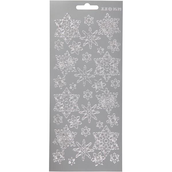 Stickers Peel Off Flocons assortis - Argenté - Planche de 10x23 cm - Photo n°1