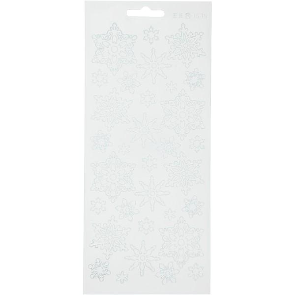 Stickers Peel Off Flocons assortis - Blanc - Planche de 10x23 cm - Photo n°1