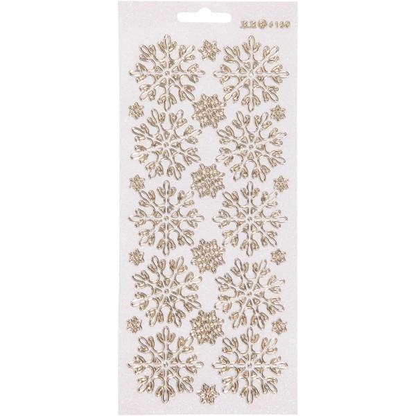 Stickers Peel Off Flocons de neige - Doré fond blanc - Planche de 10x23 cm - Photo n°1