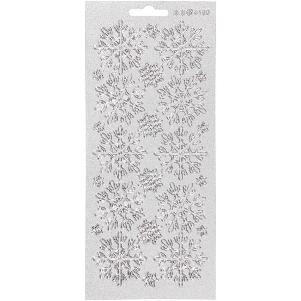Stickers Peel Off Flocons de neige - Argenté - Planche de 10x23 cm - Photo n°1