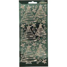 Stickers Peel Off Sapins tourbillons - Doré fond vert foncé - Planche de 10x23 cm