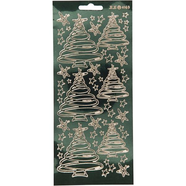 Stickers Peel Off Sapins tourbillons - Doré fond vert foncé - Planche de 10x23 cm - Photo n°1
