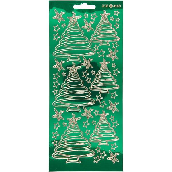 Stickers Peel Off Sapins tourbillons - Doré fond vert clair - Planche de 10x23 cm - Photo n°1