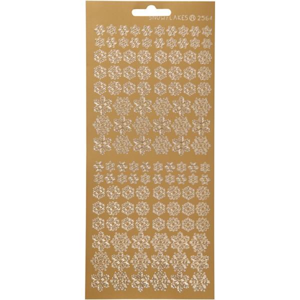 Stickers Peel Off Flocons variés - Doré - Planche de 10x23 cm - Photo n°1