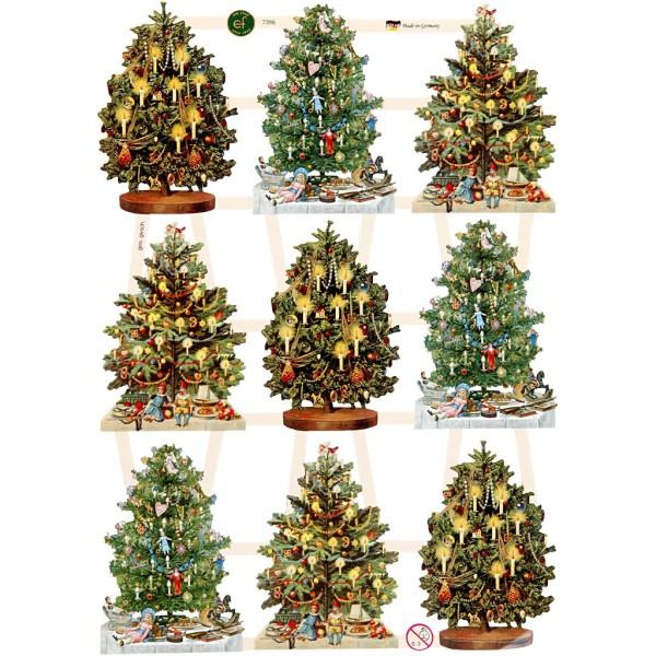 Carte 3D pré-découpée - Sapins de Noël - 16,5 x 23,5 cm - 3 feuilles - Photo n°1