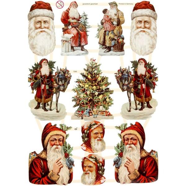Carte 3D pré-découpée - Père Noël et sapins - 16,5 x 23,5 cm - 3 feuilles - Photo n°1