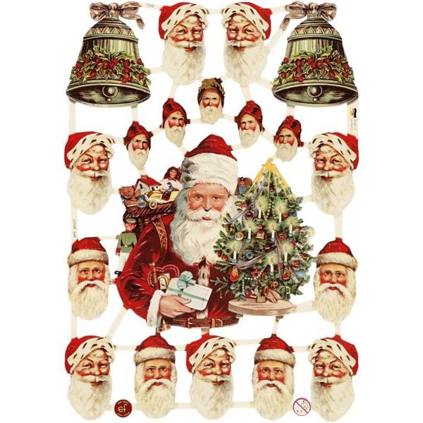 Carte 3D pré-découpée - Visages de Père Noël - 16,5 x 23,5 cm - 3 feuilles - Photo n°1
