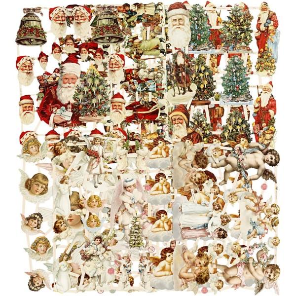 Carte 3D pré-découpée - Anges et Pères Noël - 16,5 x 23,5 cm - 3 feuilles - Photo n°1