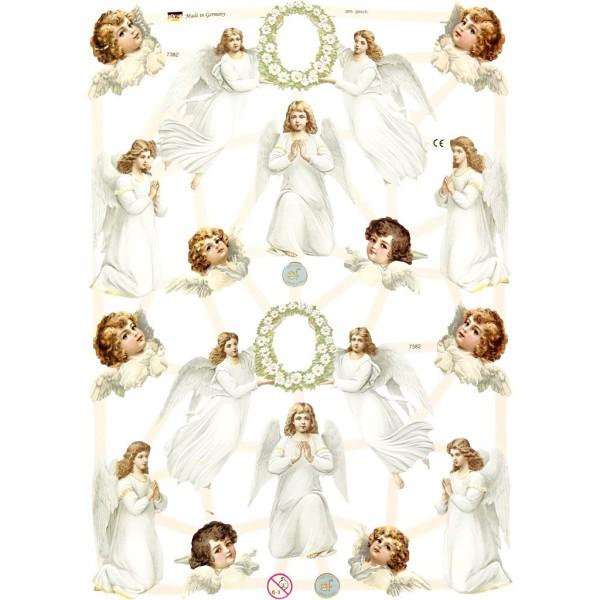 Carte 3D pré-découpée - Anges blancs - 16,5 x 23,5 cm - 3 feuilles - Photo n°1