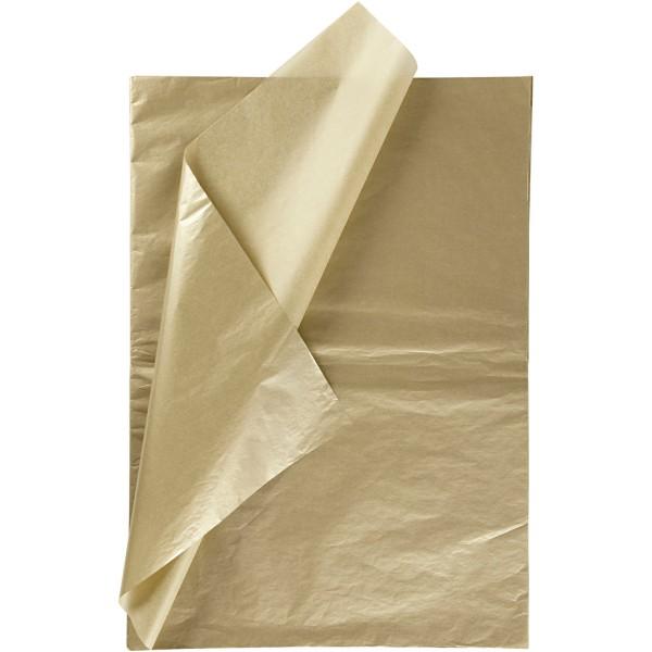 Papier de soie - Doré - 50 x 70 cm - 6 feuilles - Photo n°1