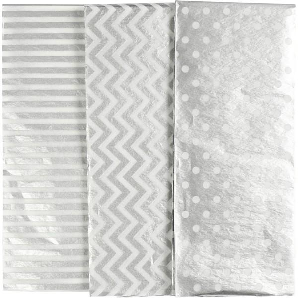 Assortiment de papier de soie - 50 x 70 cm - Argenté - 6 pcs - Photo n°1