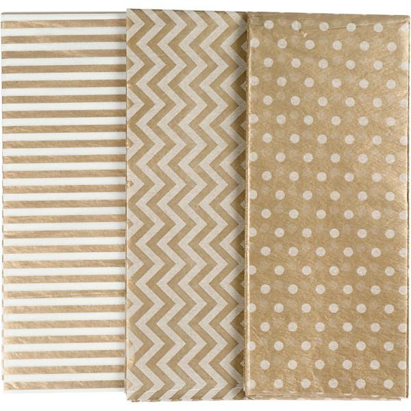 Assortiment de papier de soie - 50 x 70 cm - Doré - 6 pcs - Photo n°1