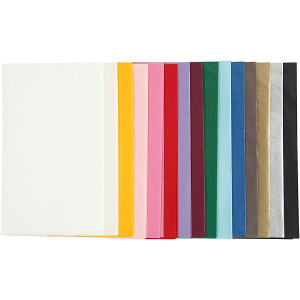 Assortiment de papier de soie - 50 x 70 cm - Couleurs assorties - 30 pcs - Photo n°1
