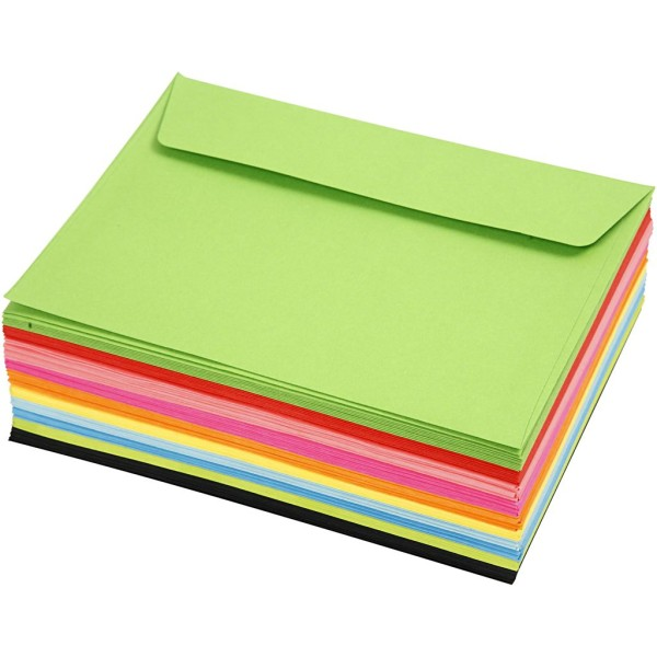 Assortiment d'enveloppes en couleur - 11,5 x 16 cm - 100 pcs - Photo n°1