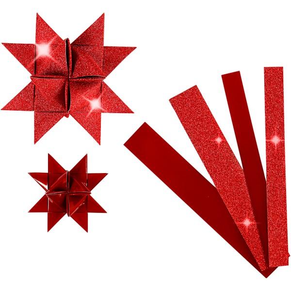 Kit de création d'étoile en papier - Rouge pailleté et vernie - 6,5 et 11,5 cm - 40 pcs - Photo n°1