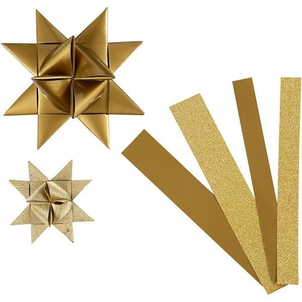 Kit de création d'étoile en papier - Or pailleté et vernie - 6,5 et 11,5 cm - 40 pcs - Photo n°1