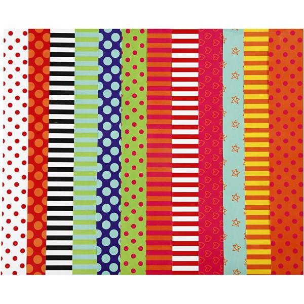 Assortiment de papier glacé - 32 x 48 cm - Motifs assortis - 100 pcs - Photo n°1