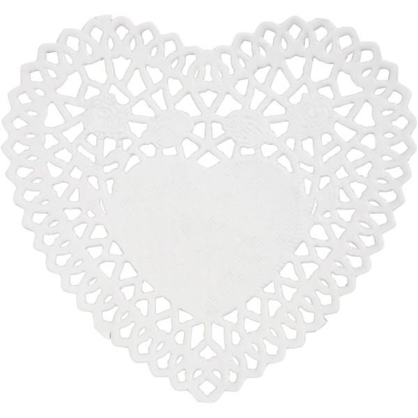 Napperon en papier dentelle - Coeur - 10 cm - 30 pcs - Photo n°1