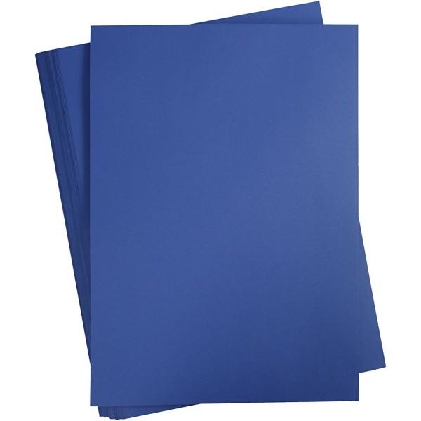 Papier cartonné coloré, A2 420x600 mm, 180 gr, 100 flles, bleu nuit - Photo n°1