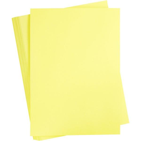 Papier cartonné coloré, A2 420x600 mm, 180 gr, 100 flles, jaune canari - Photo n°1