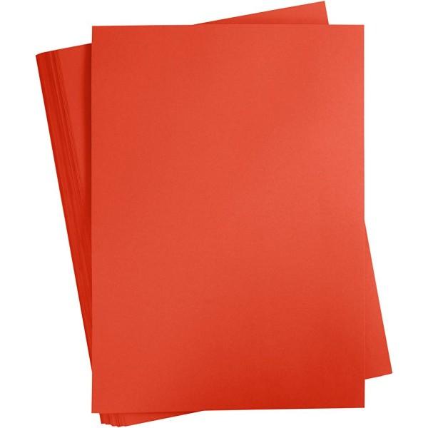 Papier cartonné coloré, A2 420x600 mm, 180 gr, 100 flles, rouge vif - Photo n°1