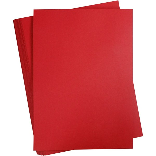 Papier cartonné coloré, A2 420x600 mm, 180 gr, 100 flles, rouge cerise - Photo n°1