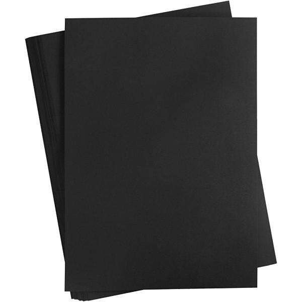 Carton coloré, A2 420x600 mm, 180 gr, 100 flles, noir froid - Photo n°1