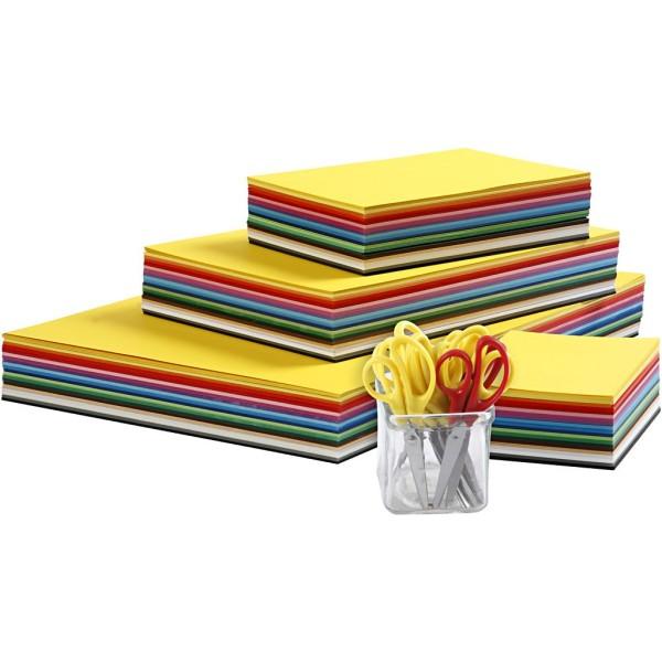 Papier cartonné de couleurs et set de ciseaux enfants, A3+A4+A5+A6, 180 gr, 1 set - Photo n°1