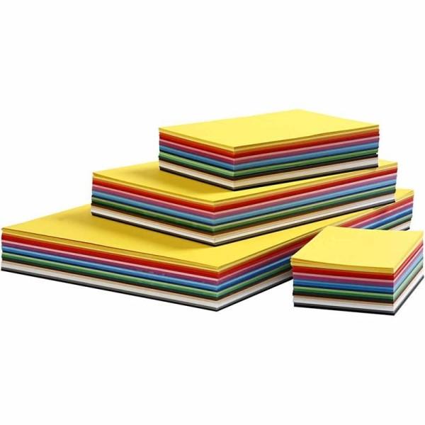 Papier cartonné Colortime, A2+A3+A4+A5+A6, 180 gr, 1800 flles. ass., Couleurs assorties - Photo n°1