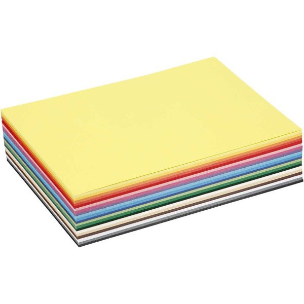 Papier cartonné A5 - 180 gr - Assortiment de couleurs - 60 pcs - Photo n°1