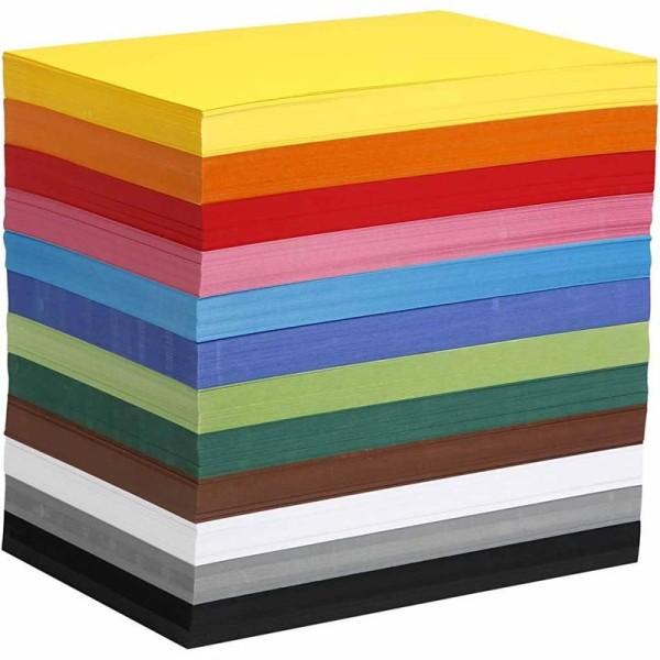 Papier cartonné A4 180 gr - 12 couleurs x 100 feuilles - 1200 pcs - Photo n°1