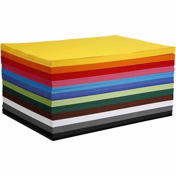 Papier cartonné coloré, A2 420x594 mm, 180 gr, 12x100 flles, Couleurs assorties - Photo n°1