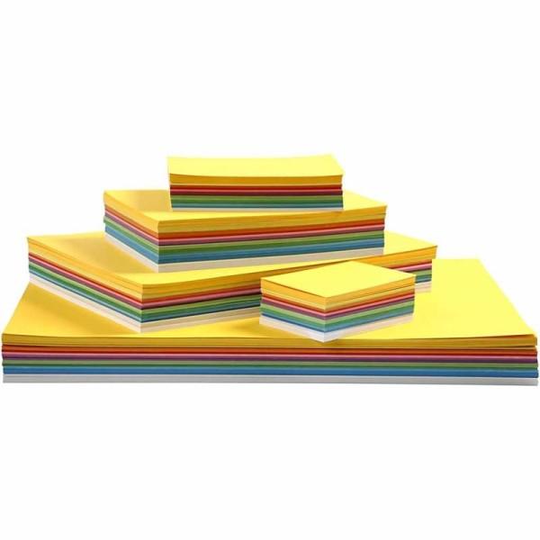 Papier cartonné Printemps, A2+A3+A4+A5+A6, 180 gr, 1800 flles. ass., Couleurs assorties - Photo n°1