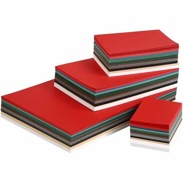 Papier cartonné Noël - Formats A3, A4, A5, A6 - 1500 pcs - Couleurs assorties - Photo n°1