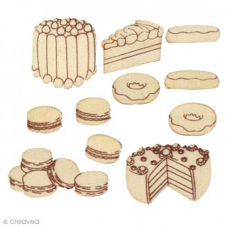 Silhouette à décorer en bois - Gâteaux - 11 pcs