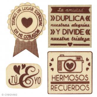 Silhouette à décorer en bois - Hermosos Recuerdos - 4 pcs