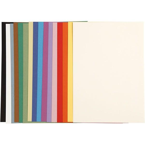 Assortiment de papier cartonné 16 couleurs - A4 - 160 g - 16 pcs - Photo n°1