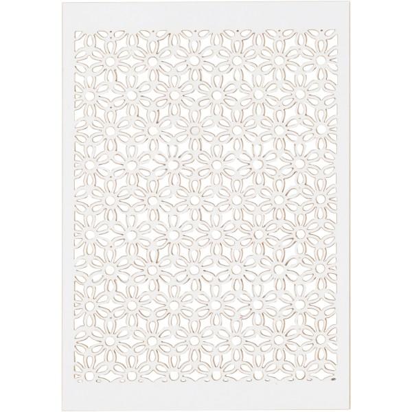 Papier cartonné Blanc 200 g avec motif dentelle - 10,5 x 15 cm - 10 feuilles - Photo n°1
