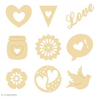 Mini silhouette à décorer en bois Love - 2,5 cm - 9 pcs
