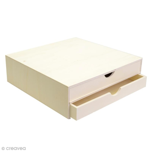 Rangement à décorer en bois - 34,5 x 34 x 10 cm - Photo n°1