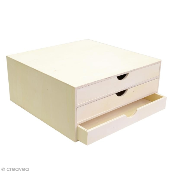 Rangement à décorer en bois - 34,5 x 34 x 15,5 cm - Photo n°1