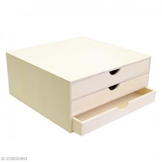 Rangement à décorer en bois - 34,5 x 34 x 15,5 cm