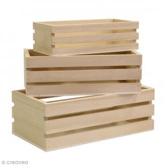 Casier à décorer en bois - 16,5 / 19 / 21,5 cm - 3 pcs