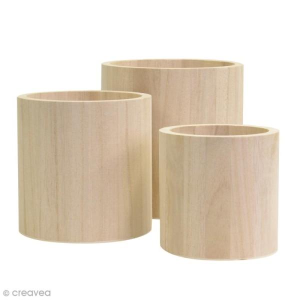 Vases ronds à décorer en bois - 9 - 11 et 13 cm - Photo n°1